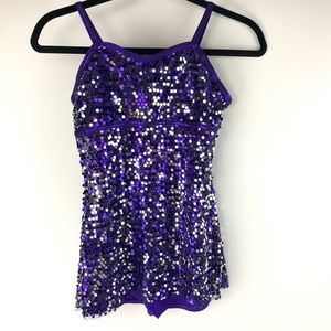 Curtain Call Purple Sequin Dance Costume Adult sm